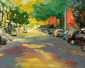 Down Our Local Street impressionist contemporary original landscape oil painting art spring painting red yellow street road living room art