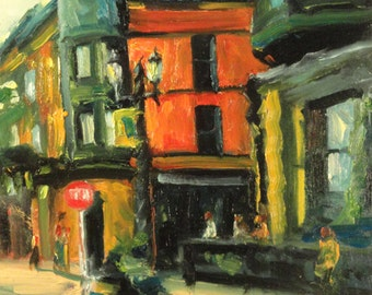 Downtown Coffee Shop realist impressionist original city architectural buildings oil painting art  red yellow green warm cafe street art