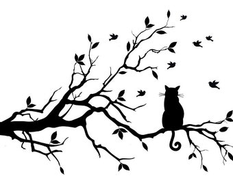 cat on the tree branch vinyl decal/sticker