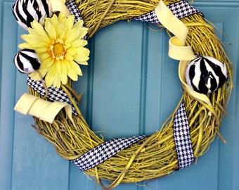 Flower Wreath Grapevine Wreaths Front Door Wreath Spring Wreaths Summer Wreaths Home Decor Sunflower Wreath