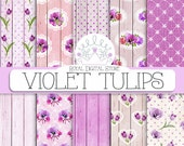 "Purple Digital Paper: "" Violet Tulips"" with violet wood, flowers backgrounds, roses, lace, shabby patterns, flowers printables"
