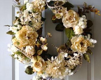 Hydrangea Wreath Cream Rose Peony Chrysanthemum Blooms Spring Summer Fall Decor