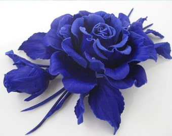 Brooch in the form of a rose bud of leather-blue garment decoration, hair clip.