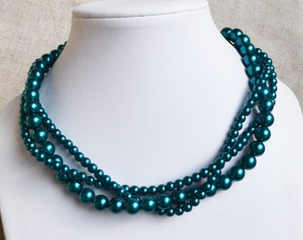 teal pearl necklaces,3-rows pearl necklaces,wedding necklace,bridesmaids necklace,glass pearls necklaces, pearl necklace,necklace