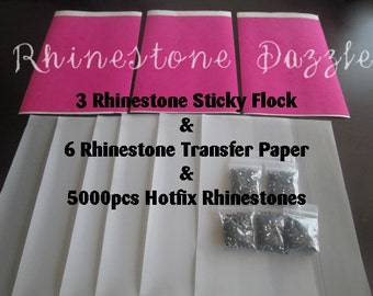 Rhinestone Bundle of 5000 Rhinestones, Sticky Flock & Transfer Tape