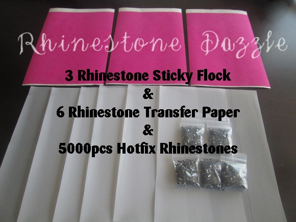 Rhinestone bundle of 5000 rhinestones sticky flock transfer for Rhinestone template material wholesale