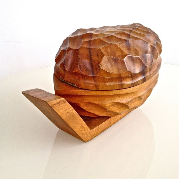 Items similar to vintage wooden covered nut bowl wallnut shapped