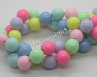 14mm GUMBALL Beads Solid Acrylic Beads Candy Beads Round Plastic Beads Bubblegum Beads Chunky Necklace Beads Bubble Gum Bead-1 strip-YTT10
