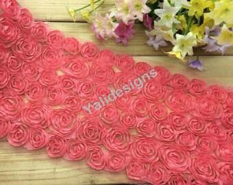 Lace Trim Fabric Watermelon Red Bridal Chiffon  Wedding Lace Trim Grenadine Mesh 6 Rows Trim 1 yard/5 Yards/10 yards YTA36 U Pick Quantity