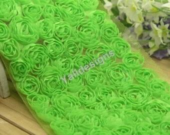 Lace Trim Fabric Bridal Chiffon Trim Grenadine 3D Wedding Mesh 6 Rows Rose Trim  1 yard/5 Yards/10 yards YTA36 -Green Pick Quantity.