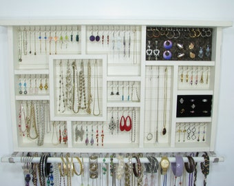 Wood Wall Art, Jewelry Organizer, Earring Holder