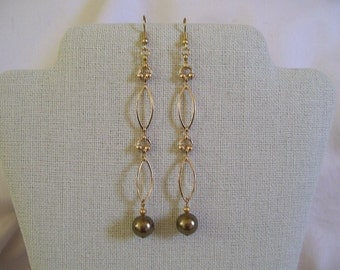 Swarovski Antique Brass Crystal Pearl Dangle Earrings