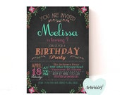 Girl Birthday Invitation - Girl Birthday Invite - Pink Charcoal Black - Typography - Printable No.156