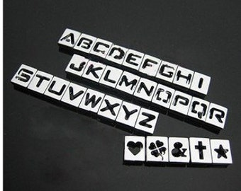 26pcs 8mm a z hollow letter slide letter charm diy letter jewelry rhinestone letter alphabet fit diy wristband strap bracelet dog pet collar