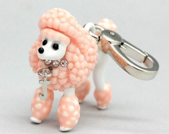 pink Poodle Pendant charm Rhinestone Poodle Jewelry Porcelain Animal Jewelry 3d Poodle Dog Pendant Friendship Bridesmaid Gift Christmas Gift
