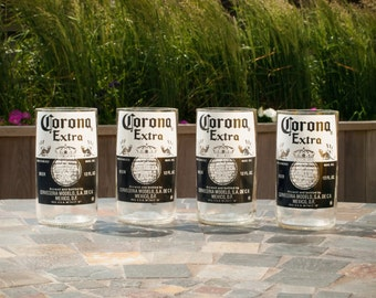Set of 4 Handcut Corona Extra Drinking Glasses