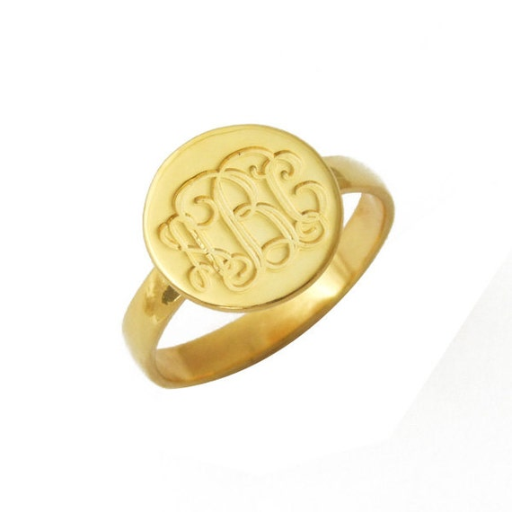 wholesale engraved monogrammed ring 18k by