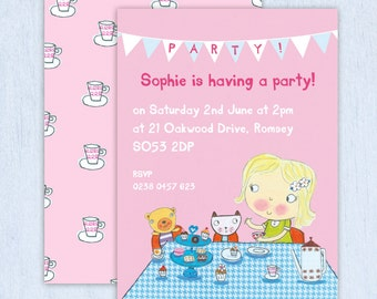girlu0027s tea party invitations choose the hair colour minimum order 8