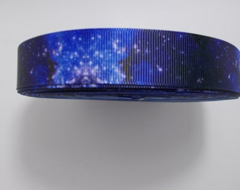 """Five yards grosgrain ribbon - 7/8"""" Blue Galaxy outer space"""