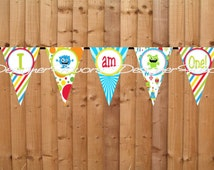 Little Monster High Chair Banner- INSTANT DOWNLOAD - Printable I am One Birthday Party Decorations