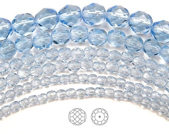 10mm (41pcs) Light Sapphire, Czech Fire Polished Round Faceted Glass Beads, 16 inch strand