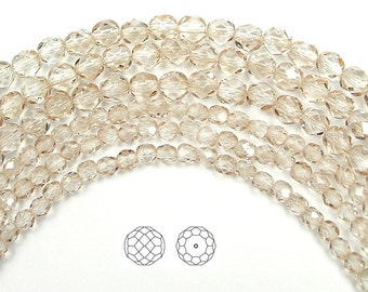 4mm (102pcs) Crystal Velvet coated, Czech Fire Polished Round Faceted Glass Beads, 16 inch strand