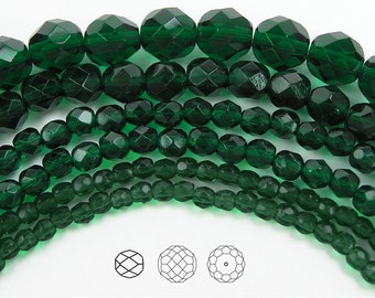 8mm (51pcs) Medium Emerald, Czech Fire Polished Round Faceted Glass Beads, 16 inch strand