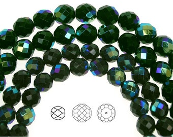 10mm (41pcs) Black Emerald AB coated, Czech Fire Polished Round Faceted Glass Beads, 16 inch strand