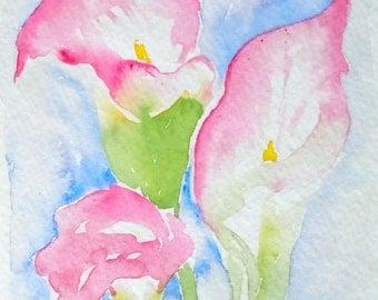 Pink Calla Lilies Watercolor Notecard