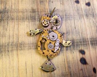 """Watch Parts & Gears """"Bertram"""" Owl Pendant"""