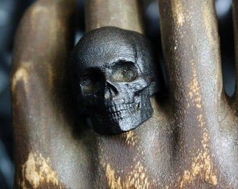 Blackened Steel Yorick Memento Mori Skull Ring