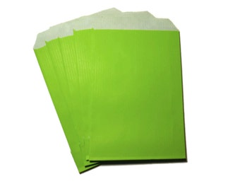 Green Paper Envelopes, Set of 5 Paper Gift Envelopes, Party Flavor Bags, Green Paper, handmade envelopes