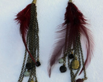 Maroon Feather and Beaded Earrings
