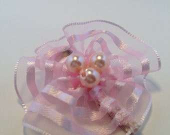 Pink Organza Hair Clip w/ Pearls