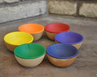 Rainbow Sorting Bowls - A Waldorf and Montessori Inspired Wooden Educational Toy