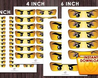 Ninjago Eyes Girl Eyes Eyelashes - 3 Sizes Birthday Party DIY PRINTABLE