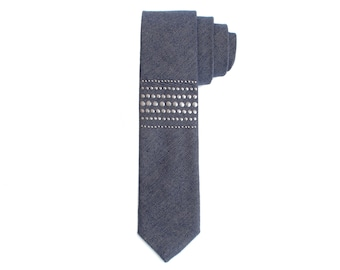 THE MR. PALOMAR: Navy Blue Indigo Chambray Necktie with Gunmetal Studs