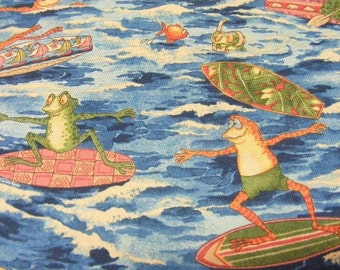Alexander Henry's Ribbit Surf Fabric~whimsy surfing frogs~by the 1/2 yard~blue-cotton-ocean