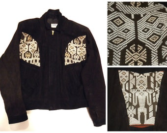 Vintage Navajo Fabric Suede Leather Jacket Tribal American Indian Hippie Southwestern Black and Brown