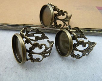 10pcs Antique Bronze Metal Adjustable Ring Base with 12mm Pad Cameo Setting. c2092