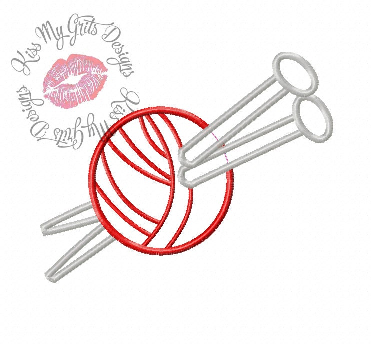 Knitting needles machine embroidery applique design