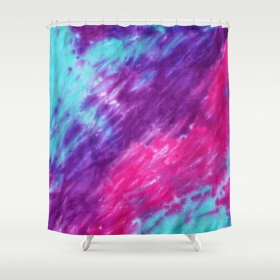Fabric Shower Curtain Pink Purple Turquiose Tie Dye Decorative