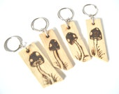 Pyrographed wooden mushroom keyring - wood burned design on repurposed wood , NFE, Dorsetteam