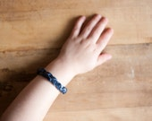 Kids Leather Bracelet | Navy Blue