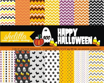 Happy halloween. digital paper, details for halloween