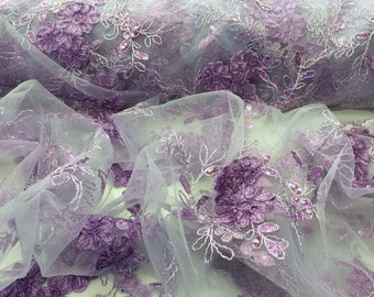 Lilac Ribbon Flowers With Metallic Tread And Sequins On A Mesh Tull.36x50inches