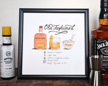 Old Fashioned Classic Cocktail Recipe, Print of Original Handlettered Watercolor Art, Wall Art, Bar Cart, Kitchen Decor