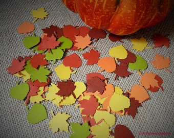 100 Autumn Leaves Die Cuts Punches Confetti Scrapbooking