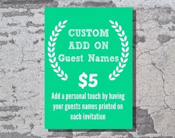 Custom Add On: Guest Names