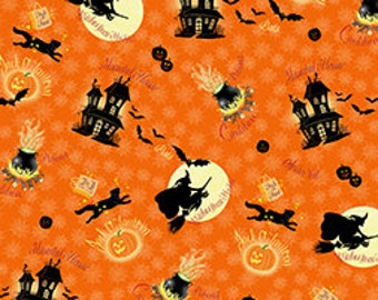 Quilting Treasures 'Witches Brew Haha' Orange 568 Fabric